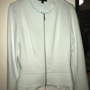 Mossimo mint ruffled bottom zip up blazer sz L